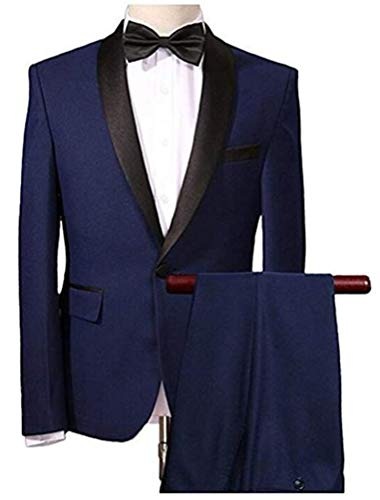 Men S Navy Blue Wedding Suits 2 Pieces One Button Men Suits Groom Tuxedos Buy Online In India At Desertcart In Productid 46134358