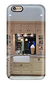 ZippyDoritEduard Scratch-free Phone Case For Iphone 6- Retail Packaging - Cottage Kitchen With Mullion Glass Cabinets And Ice Cream Collectibles