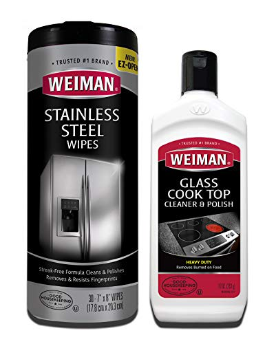 Weiman Heavy Duty Cooktop Polish and Stainless Steel Wipes - Powerful Appliance Kitchen Cleaning Kit