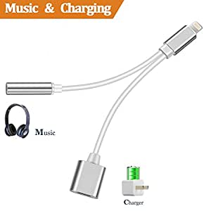 2 in 1 Lightning Headset Adaptor to 3.5mm Aux Earphone Audio and Charge