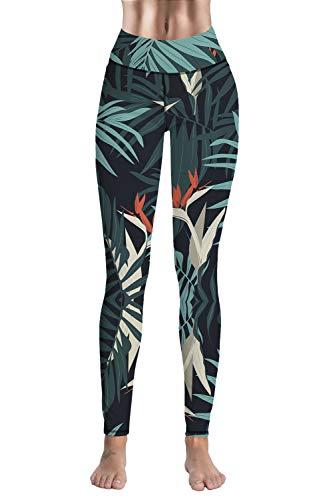 (CHICE IRIS Womens Nature Fractal Art Leggings Athletic Gym Pants Green L)