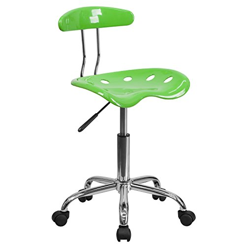 - Ergonomic Home Vibrant Apple Green and Chrome Swivel Task Chair with Tractor SEAT