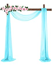 Firlar Wedding Arch Drapes, 18FT White Sheer Backdrop Curtain Chiffon Fabric Drapery Table Runner Sheer Voile Scarf Draping Panels for Wedding Archway Ceremony Curtain Valance Party Decoration