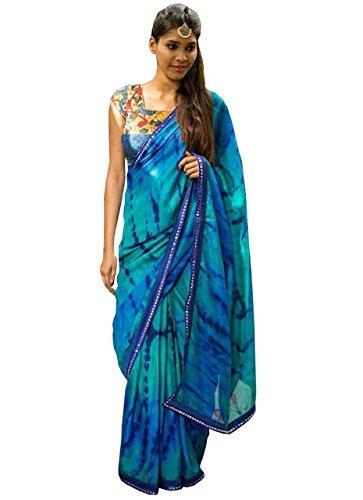 015be58968 Adorn Fashion Women's Satin Silk & Shibori Print Georgette Saree  (Afa-3166_Sky Blue): Amazon.in: Clothing & Accessories