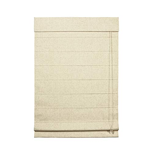 (Linen-Look Thermal Blackout Fabric Roman Shade (Natural 35 in. W x 64 in. L))
