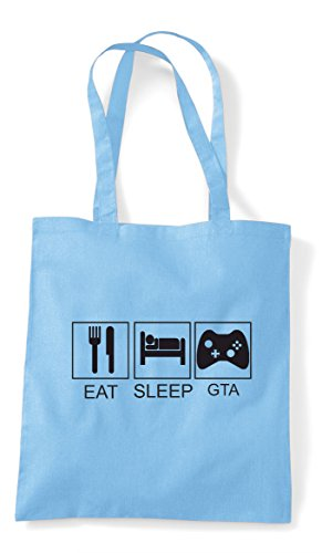 Eat Funny Tote Bag Tiles Gta Hobby Shopper Activity Blue Sky Sleep Play rRCZqr