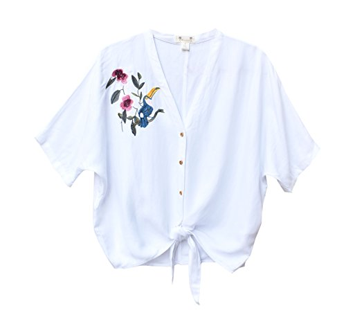 - Sunisa White Self-Tie Crop Top Blouse with Toucan Floral Embroidery (Medium, White)