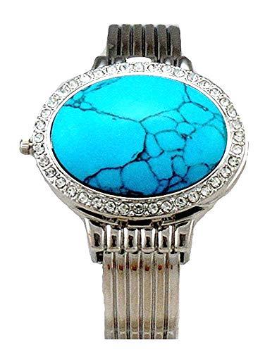 Bora Twilight Bella Style Oval Turquoise Cuff Crystal Watch