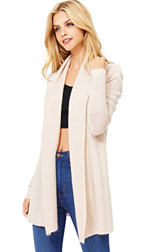 Angora Cardigan (Love Stitch Women's Super Plush Open Front Comfy Cardigan (M, Oatmeal))