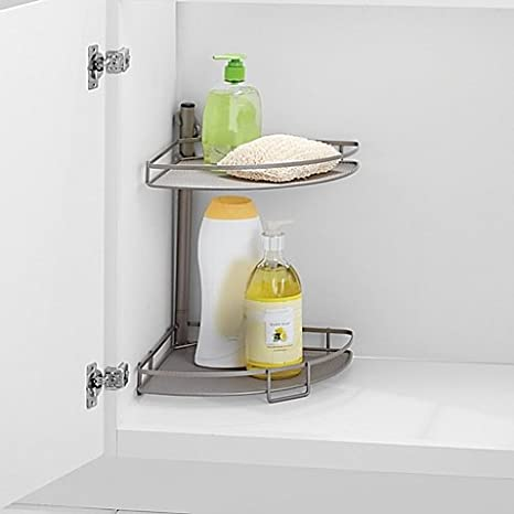 Amazon.com: .ORG Adjusting Corner Bathroom Shelves in Matte Nickel ...