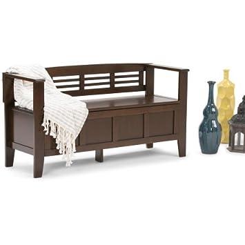 Terrific Amazon Com Contemporary Wood Storage Bench Lacquer Finish Machost Co Dining Chair Design Ideas Machostcouk