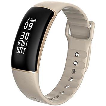 Dynamic KALOAD M61 Smart Pulsera Ritmo cardíaco Monitor de presión cronómetro IP67 Impermeable Reloj - Oro: Amazon.es: Deportes y aire libre