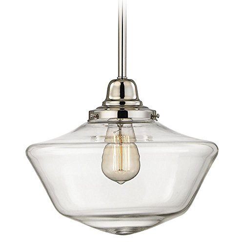 12-Inch Clear Glass Schoolhouse Pendant Light in Polished Nickel Finish (Pendants Nickel Polished Finish)