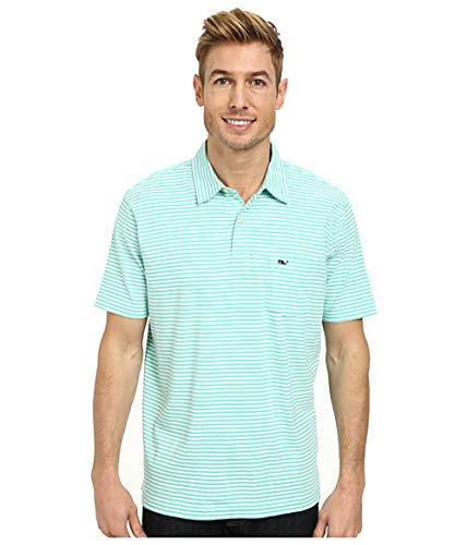 - Vineyard Vines Men's Jersey Feeder Stripe Antigua Green Polo Shirt, Large