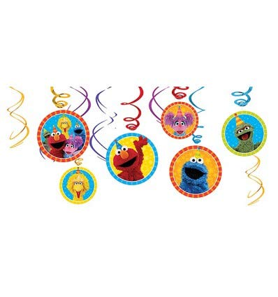Hanging Swirls and Exclusive Pin! Table Deco Kit Scene Setter Wall Deco Kit With Props Sesame Street Birthday Party Decoration Pack With Add An Age Birthday Banner Honeycomb Decorations Garland