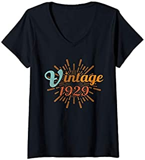 Best Gift Womens 90th Birthday Gift Vintage 1929 Distressed Retro Design V-Neck  Need Funny TShirt / S - 5Xl