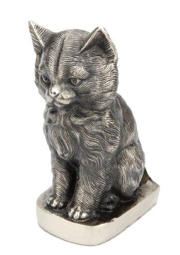 (Urns UK Sitting Sweet Cat Urn, Antique Silver)