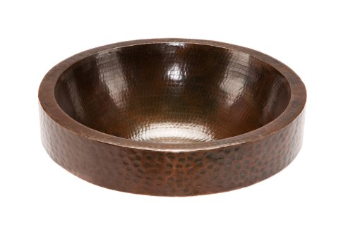 Premier Copper Products VR17SKDB Round Skirted Vessel Hammered Copper Sink, Oil Rubbed Bronze (Small Round Skirted Vessel Hammered Copper Sink)