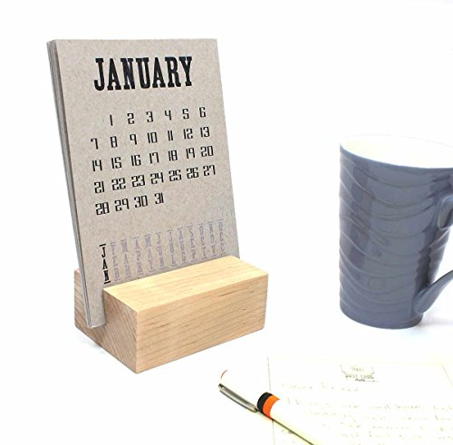 2018 Desk Calendar with Wood Block Stand by Happy Bungalow