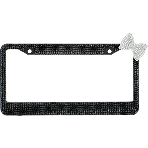 Black Crystal Diamond Rhinestone Black Metal License Plate Frame License Plate Frame With Clear Crystal Bow Tie With Crystal Screw Caps from BLVD-LPF OBEY YOUR LUXURY