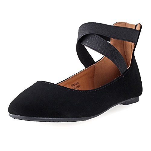 ANNA Shoes Womens Dana-21KB Comfort Flats - Black - 6 (Best Flat Shoes Brand)