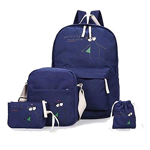 Bag Backpack 4pcs Dark Rucksack Blue Printed Messenger For Canvas School Yilianda Teenage Girls Set wI8CS
