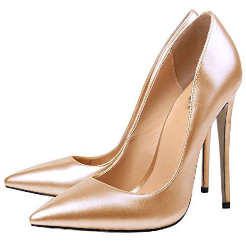 MerMer Zapatos de tacon Alto brillo Gold puntiagua de Moda para fiesta