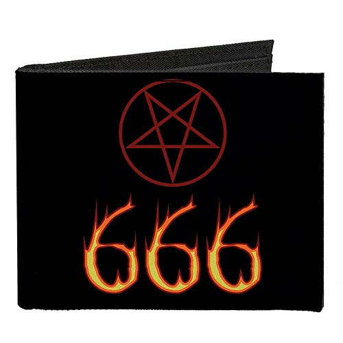 (Canvas Bi-Fold Wallet - Flaming 666 Pentagram Black Red)