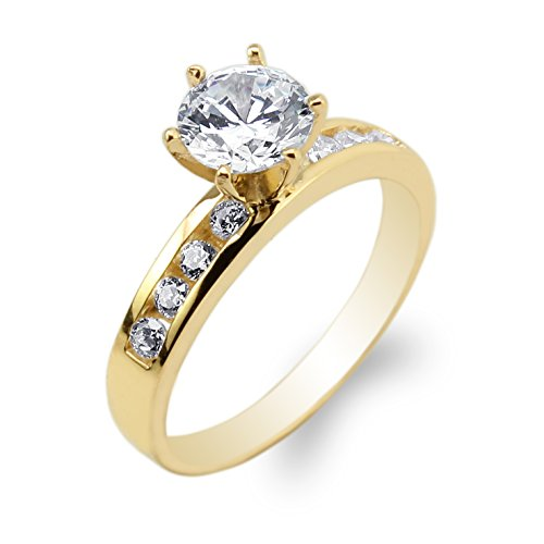 JamesJenny 10K Yellow Gold 1.0ct Round CZ Channel Set Solitaire Ring Size 8 ()