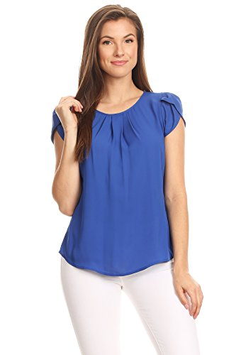VIA Jay's Basic Casual Simple Short Puff Sleeve Relaxed Blouse TOP (Blue, X-Large)