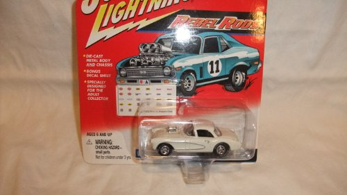 EL RODS 1957 WHITE 1:64 SCALE CORVETTE GASSER WITH DECAL SHEET ()