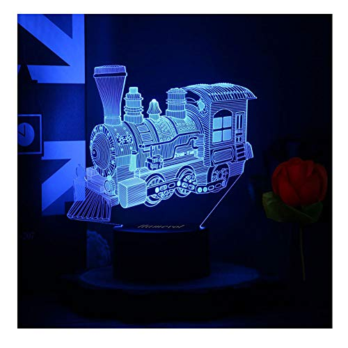 Toy Train Night light for Kids LED Table Lamp 3D Illusion Optical Car Steam Train Locomotive Engine Birthday Gifts for Men Girls Boys Adults Toddler Baby 7 Color Nursery Vintage ()