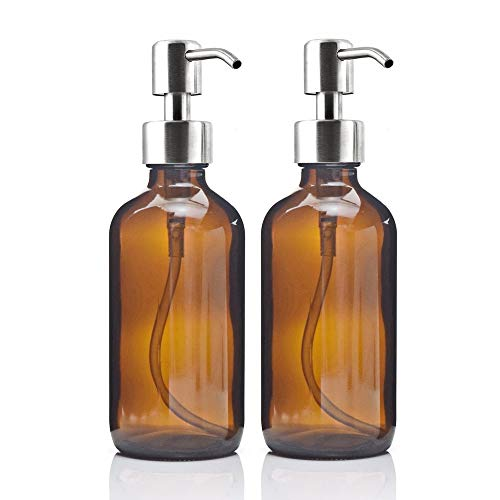 Gold Happy 8 Oz Large 250ml Liquid Soap Dispensers with Stainless Steel Pump for Essential Oils Homemade lotions Round Amber Glass Bottles