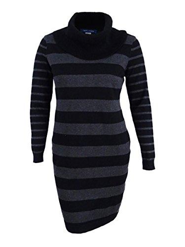 Tommy Hilfiger Women's Striped Cowl-Neck Sweater Dress (XL, Black/Charcoal)