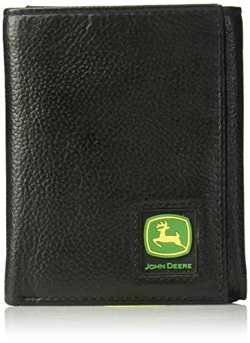 - John Deere Men's Tri-Fold Wallet,Black,One Size