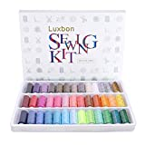 Luxbon Hook,Crochet,39 Spools Rainbow Polyester Sewing Thread Box Kit Set for Quilting Stitching/Hand Sewing/Machine Sewing