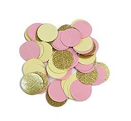 Pink Cream Glitter Gold Tissue Paper Pom Pom Tissue Pom Pom Paper Tassel Garland Polka Dot Tissue Poms Paper Garland for Baby Shower Decoration Bridal Shower Pink Gold First Birthday