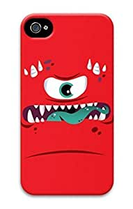 3D Hard Plastic Case for iPhone 4 4S 4G,Red Monster Case Back Cover for iPhone 4 4S