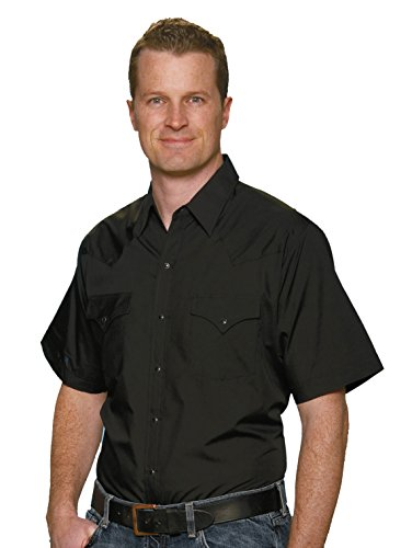 Tall Western Shirts (Ely & Walker Men's Size Short Sleeve Solid Western Shirt, Black, 2X-Large Tall)
