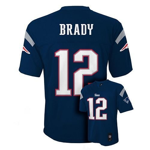 (Outerstuff Tom Brady # 12 New England Patriots NFL Youth Mid-tier Team Jersey Navy (Youth Medium 10/12))