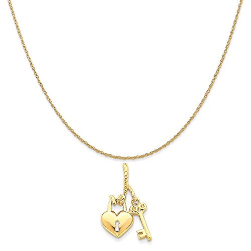 14k Yellow Gold Polished Heart and Key Slide Pendant on 14K Yellow Gold Rope Chain Necklace, 18