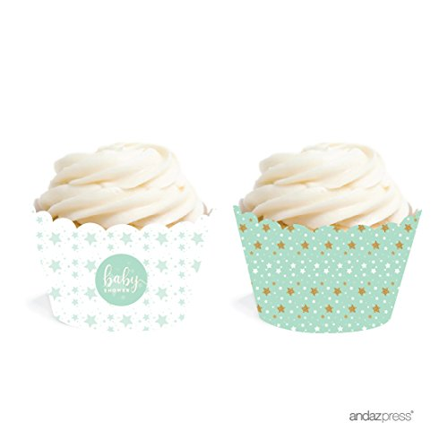 Andaz Press Twinkle Twinkle Little Star Mint Green Baby Collection, Cupcake Wrappers, 20-Pack -