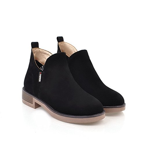 BalaMasa Womens Comfort Platform Slip-Resistant Suede Boots ABL09949 Black 6Q3pJp