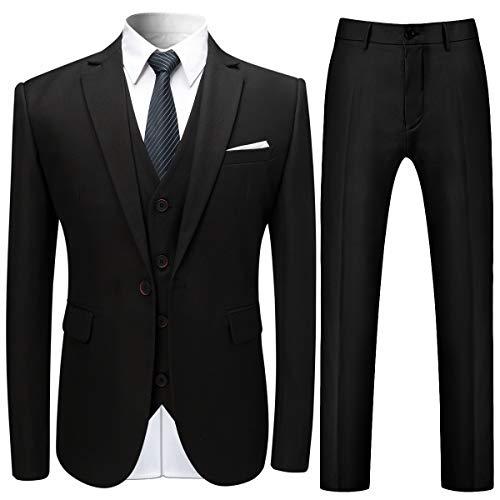 - Mens Slim Fit 3-Piece Suits Solid Color Classic Fit One Button Blazer Tux Vest & Pants Black