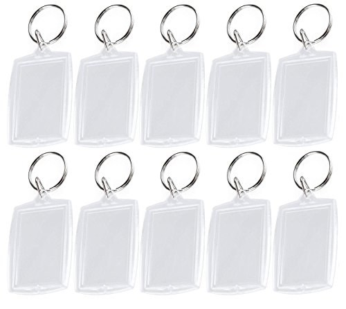 Happyupcity 25PCS Transparent Acrylic Plastic Photo Frame Keychain Small Portable Insertable Picture Holder DIY Key Chain Key Ring Case for Women and Men