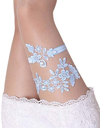 Blue Wedding Garters for Bride Bridal Lace Garter Set for Women Plus Size]()