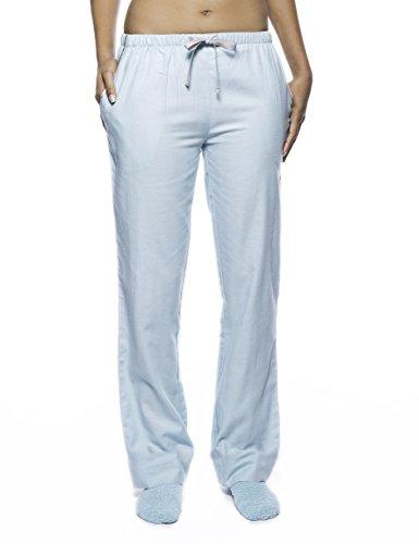 Women's Premium Flannel Lounge Pant - Herringbone Aqua - Large