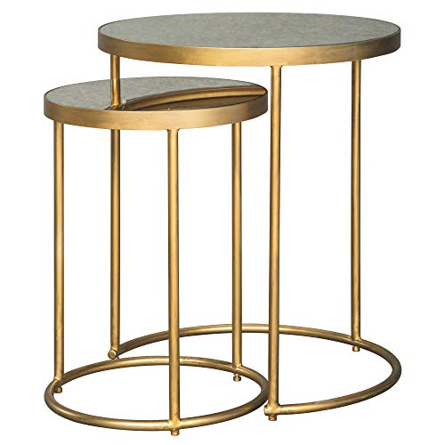 Ashley Furniture Signature Design - Majaci Set of 2 Nesting Tables - Contemporary - Antique Gold Metal - Mirrored Glasstop (Round Nesting Side Tables Set Marble Antique Brass)