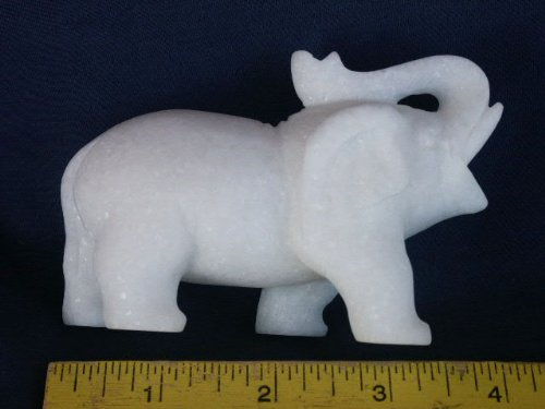 None Hand Carved White Marble Elephant Figurine, 16.17.6