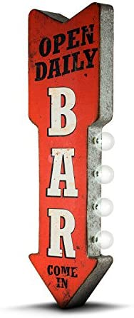 Amazon Com American Art Decor Vintage Bar Led Marquee Arrow Sign Open Daily Bar Sign Wall Decor For Game Room Bar Garage Man Cave Battery Operated 25 X 8 75 X 3 5 Home Kitchen